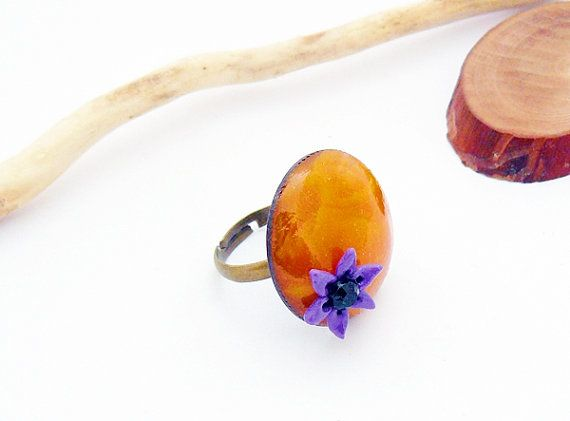 Orange ring with purple flower  polymer clay jewelry by spikycake, $15.00