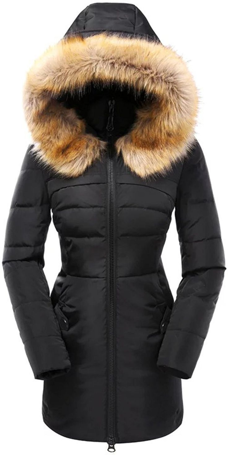 Valuker Womens Down Coat With Fur Hood With 90 Down -3719