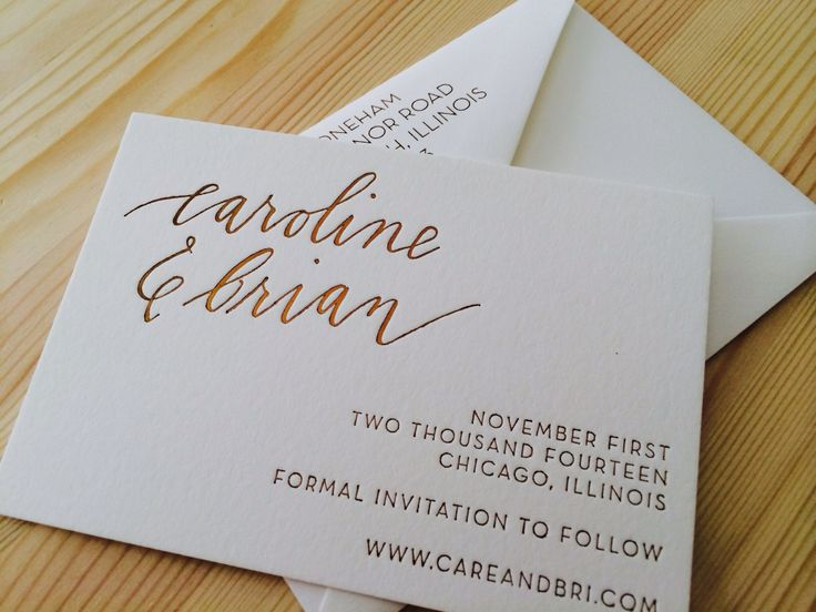 our save the date - all paper products will have this custom copper/bronze foil on soft white and calligraphy logo
