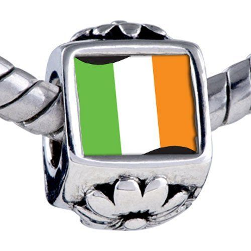 Pugster Bead Ireland Flag Beads Fits Pandora Bracelet Pugster. $12.49. Unthreaded European story bracelet design. Hole size is approximately 4.8 to 5mm. It's the photo on the flower charm. Fit Pandora, Biagi, and Chamilia Charm Bead Bracelets. Bracelet sold separately