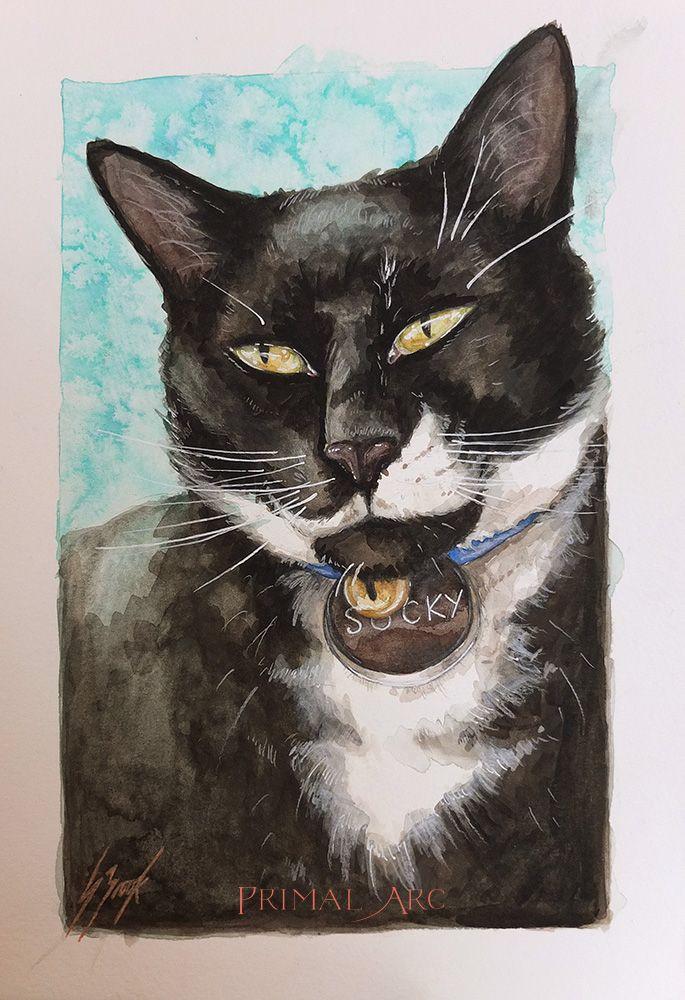 'A Portrait of Socks', watercolour.