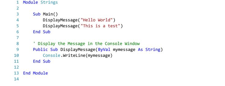 Example of Using Strings in Visual Basic.  Text Editor - Visual Studio 2015.