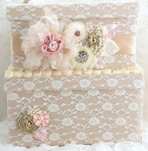 Fall Wedding Card Box Ideas: Bridal Card Box Keepsake Wedding Card Box In Champagne