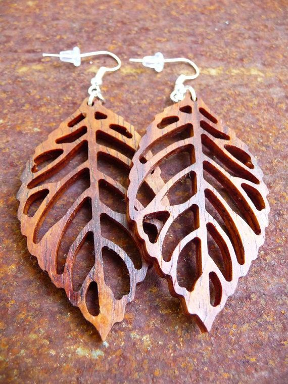 Wooden earrings Leaf by HickoryHollowRustics on Etsy, $16.00