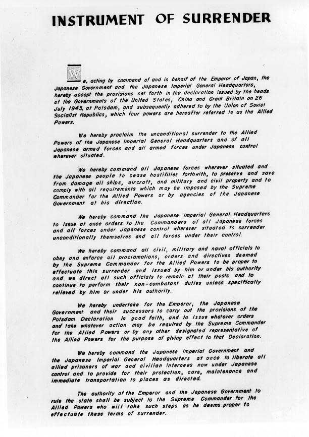 8 best important documents and newspaper headlines of world war two japanese instrument of surrender to the allied powers p 1 us national archives fandeluxe Image collections
