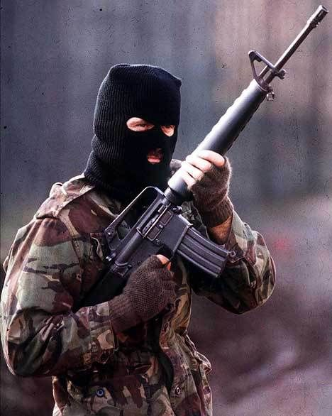 A Volunteer of the Irish Republican Army on active service in the British Occupied North of Ireland, armed with an American-supplied M16 assault rifle, early 1980s