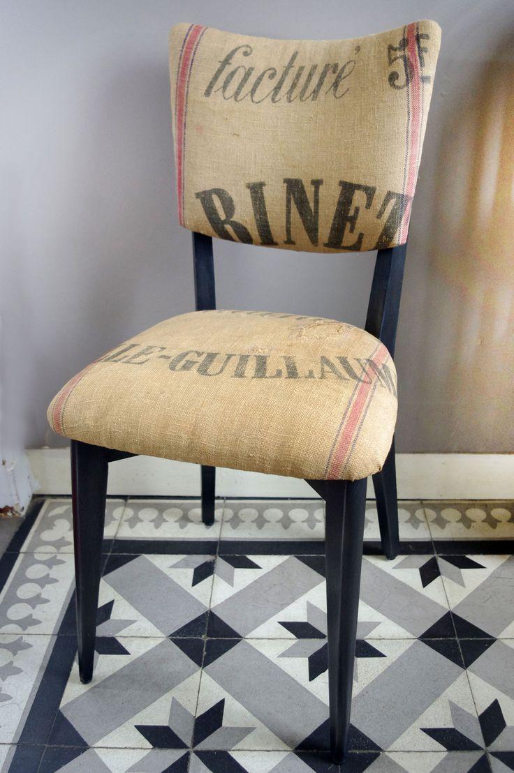Chaise en toile de jute ancienne de boulanger :par abracadabroc