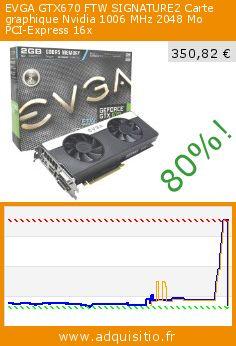 EVGA GTX670 FTW SIGNATURE2 Carte graphique Nvidia 1006 MHz 2048 Mo PCI-Express 16x (Accessoire). Réduction de 80%! Prix actuel 350,82 €, l'ancien prix était de 1.766,10 €. http://www.adquisitio.fr/evga/gtx670-ftw-signature2