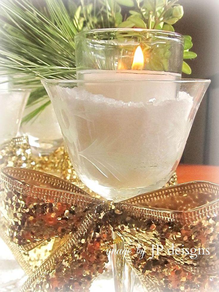 A Golden Glitter, Snowy Candlescape/Centerpiece