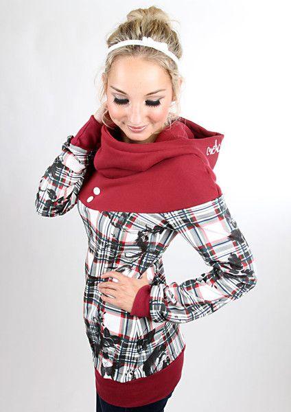 """Hoodies - MEKO """"Flora"""" Hoodie Marsala Damen Karo - ein Designerstück von meko bei DaWanda"""