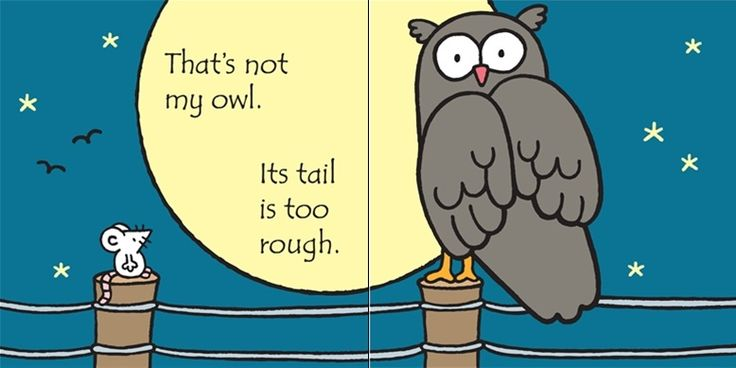 That's not my owl... Its tail is too rough.  http://www.usborne.com/catalogue/book/1~B~BS~8877/thats-not-my-owl.aspx  #thatsnotmy #TNM #Owl #Usborne #baby #board #book #reading #toddler #little #children #reading #literacy #touchyfeely #texture