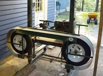 Sawmill by trucknut324 -- Homemade sawmill constructed from a 9hp gasoline engine, channel, angle iron, tubing, bearings, pulleys, a centrifugal clutch, ATV wheels, and trailer tires. http://www.homemadetools.net/homemade-sawmill-4