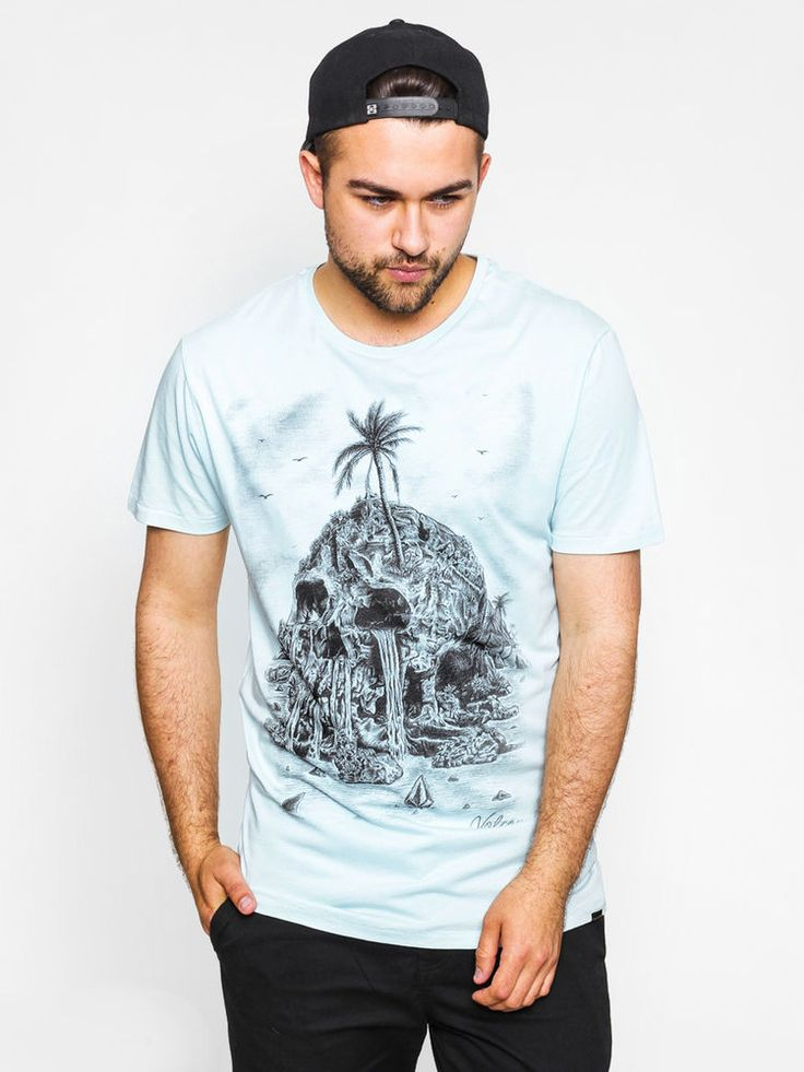 VOLCOM Light Blue Isla Muerta T-shirt S/M/L/XL Skull Print Cotton Tee #Volcom #GraphicTee