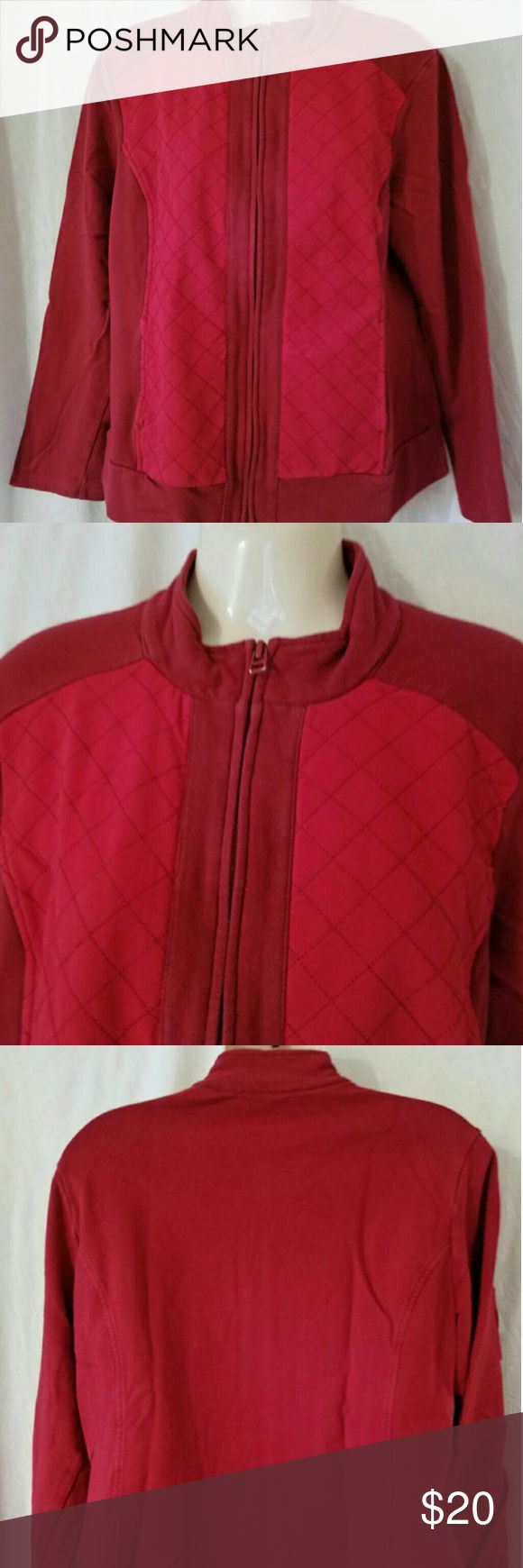 "Coldwater Creek Zip Quilted Sweatshirt Jacket Made by Coldwater Creek Zips down the front Front slash pockets Light red color on a dark red color 95% cotton, 5% spandex Hand wash, line dry      Length 24""     Sleeve 23""     Chest 42""  (Inv 139) Coldwater Creek Jackets & Coats"