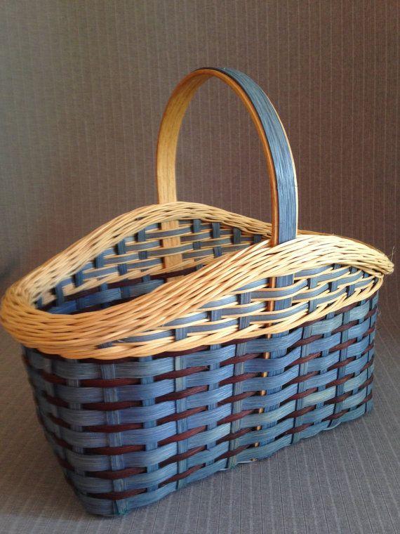 Handwoven Blue Basket with Gretchen Rim by BidibitsBeauties