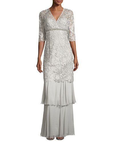 ab2eb4559ed RICKIE FREEMAN FOR TERI JON 3 4-SLEEVE LACE TIERED COLUMN GOWN