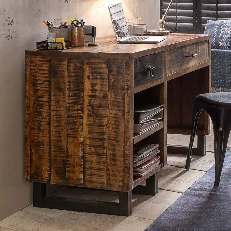 Schreibtisch Tamila aus recyceltem Mangobaumholz 120 cm