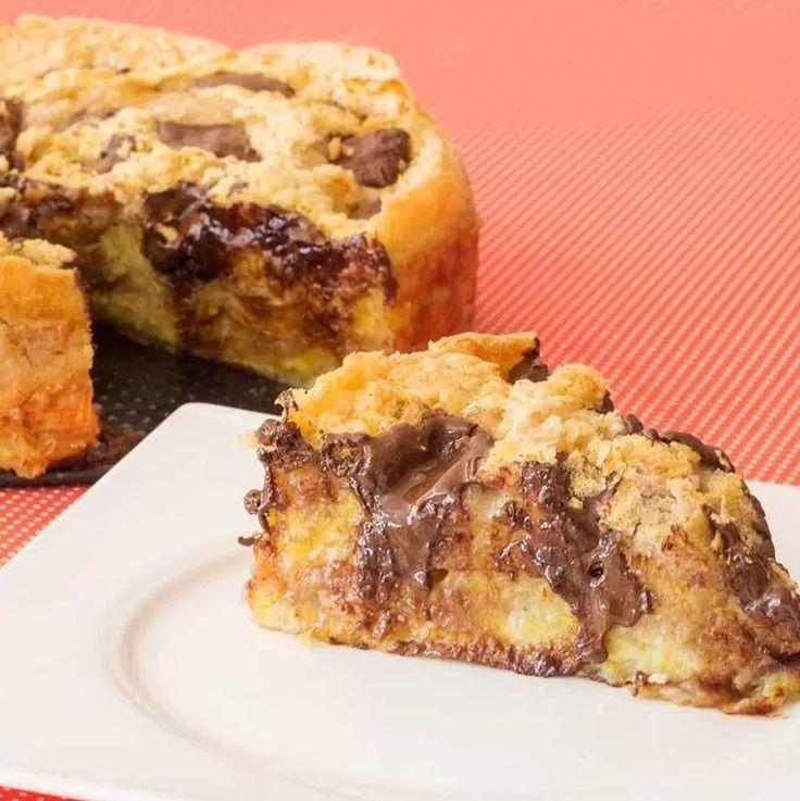 Receita de uma deliciosa torta de bananas maduras com chocolate Suflair, super fácil e saborosa