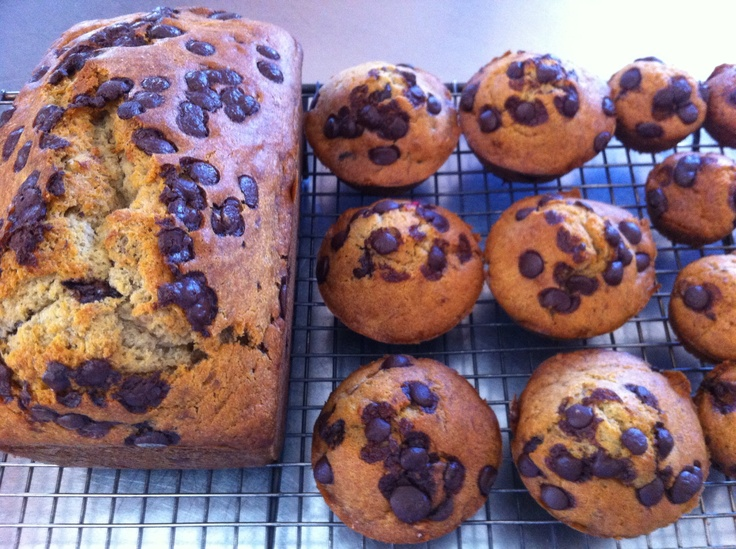 Banana and chocolate chip cakes.Gluten free flour used in this recipe. Recipe coming soon!