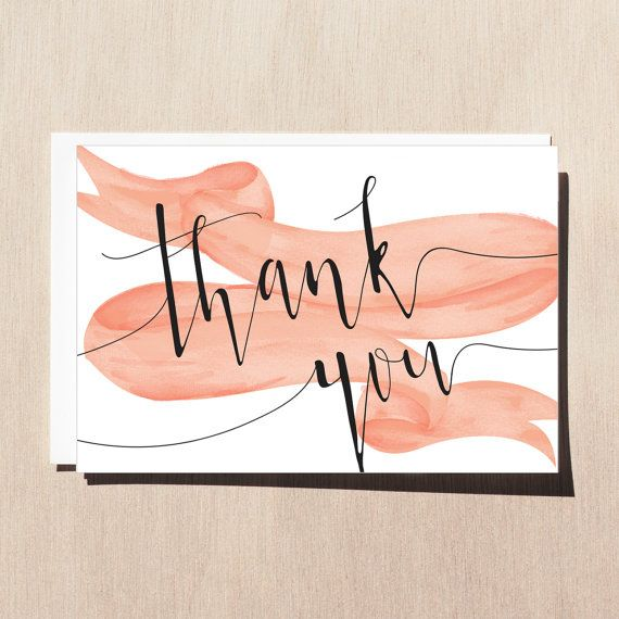 Printable Thank You Card with Envelope Template Wedding Thank You Black White and Pink Peach Card Typography Thank You Card Cute Font Card 4.00