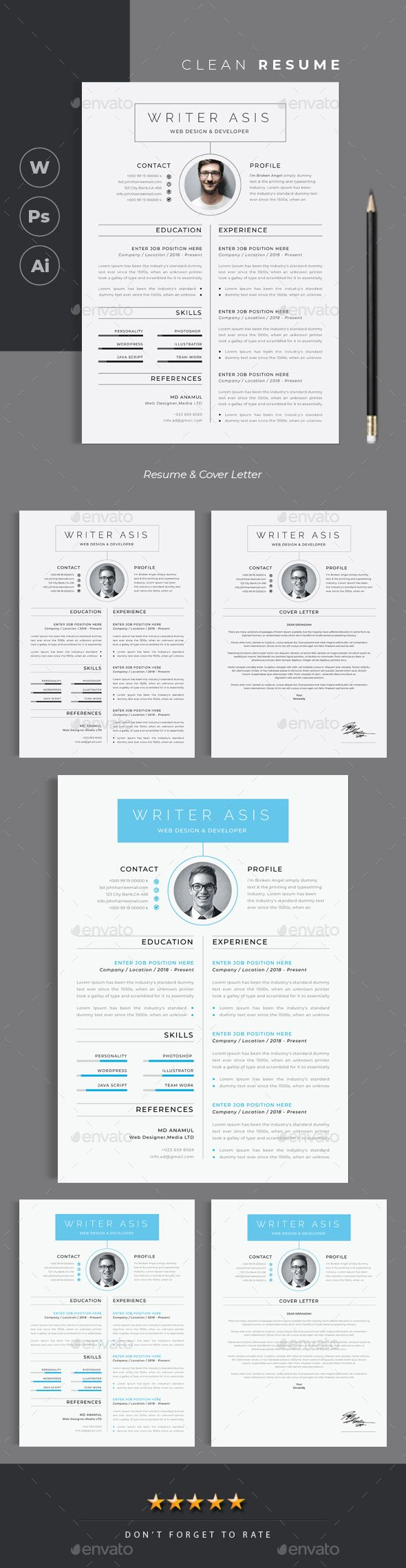 Clean Resume #business #text  • Download here → https://graphicriver.net/item/clean-resume/21286339?ref=pxcr