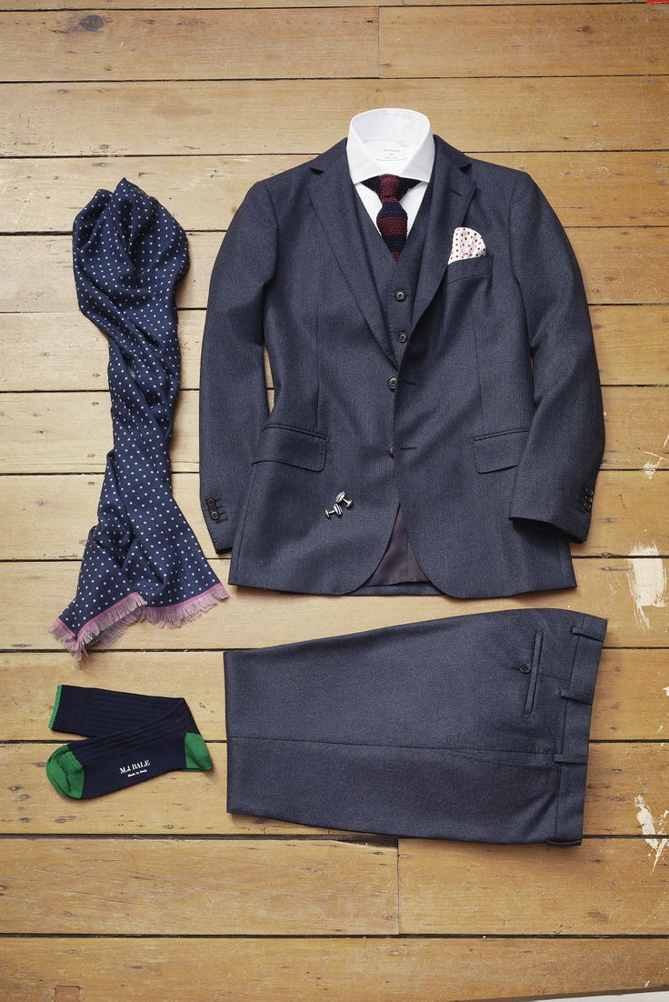 Our flannel Hotham suit is perfect for big-end-of-town style. Pair it with a matching waistcoat for formal occasions requiring gravitas, or mix and match the jacket with separate trousers, shirt, dot pattern tie, scarf and colourful pocket square for semi-formal dress code. Creatives can wear the trousers with shirt, knitwear and pocket square for a fresh take on work wear.  www.mjbale.com
