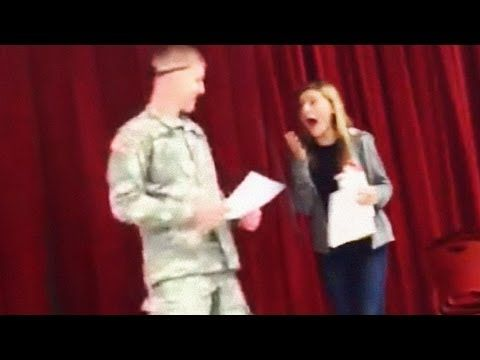 "[VIDEO] U.S. Soldier Surprises Sister During High School Lunch Raffle  |  ""My son, Pvt Buffkin, came home on leave yesterday on a 4-day pass for Veteran's Day. He surprised his sister, Tressie, at lunch. A mock drawing was set up for free ticket to football game and t-shirt. Tressie's name was drawn, and as she was waiting on stage, her brother came out from behind the curtain! It was his first time home since he joined the Army."""