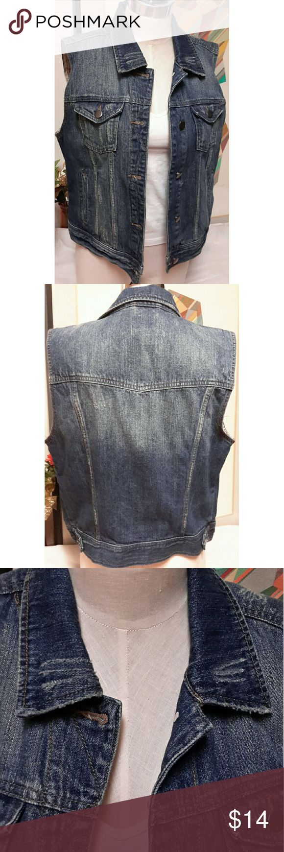 Forever 21 Premium Denim Distressed Jean Jacket Sleeveless denim jacket. Size Large. Has pockets on each side and inside. 22in length. 100% cotton. Questions are welcomed. Forever 21 Jackets & Coats Jean Jackets