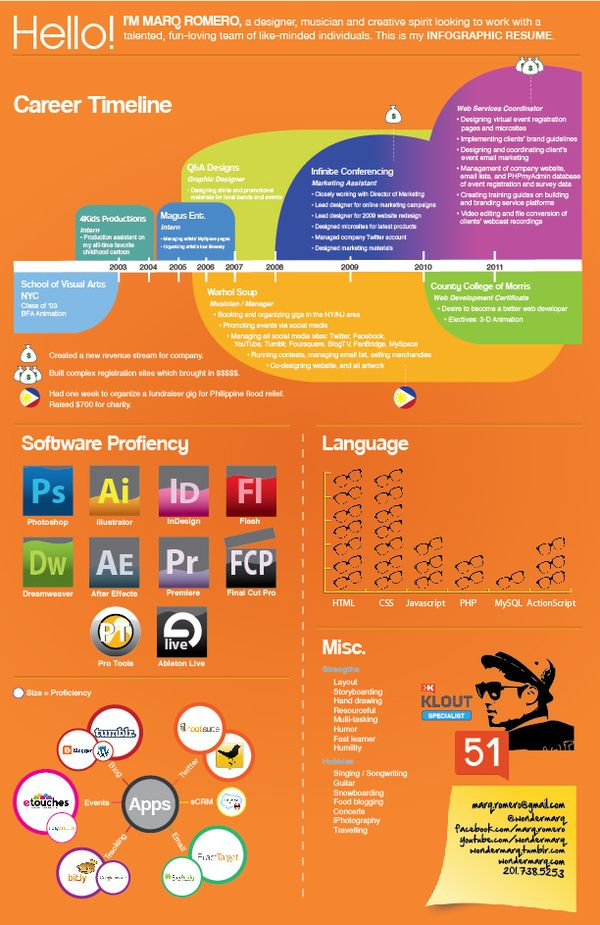 340 best Infographic and Visual Resumes images on Pinterest - infographic resume examples