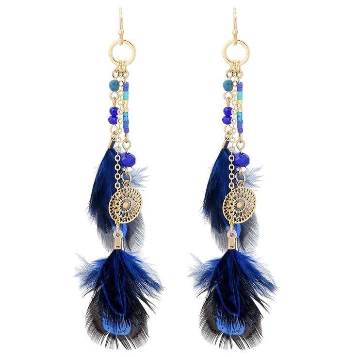 'YehWang' Ibiza/boho Oorbellen met blauwe veren en kralen