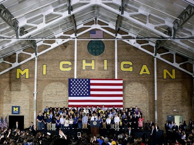 ANN ARBOR, MI - APRIL 2: U.S. President Barack Obama speaks about his proposal to raise the federal minimum wage at the University of Michigan on April 2, 2014 in Ann Arbor, Michigan. Obama said every American deserves a fair working wage.(Photo by Joshua Lott/Getty Images)