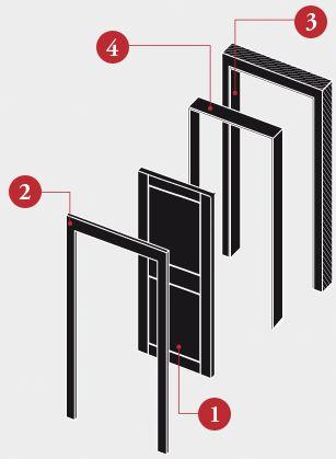 Come e' fatta una #porta 1-ANTA Può essere fabbricata in legno, con soluzioni diversificate. 2-COPRIFILI Elementi che creano la cornice all'anta.Nascondono le fughe tra il telaio, il controtelaio ed il muro. 3-CONTROTELAIO Struttura in legno di conifera che viene montata nello spessore del muro lungo il vano predisposto per la posa della porta. 4-TELAIO FISSO È composto da profili verticali ed elemento orizzontale posto alla sommità del telaio   www.gallisrl.eu