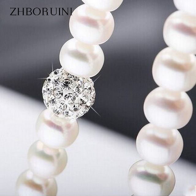 Cheapest $12.35, Buy ZHBORUINI 2017 Pearl Necklace 925 Sterling Silver Jewelry For Women 8-9mm Crystal Ball Natural Freshwater Pearls Pearl Jewelry
