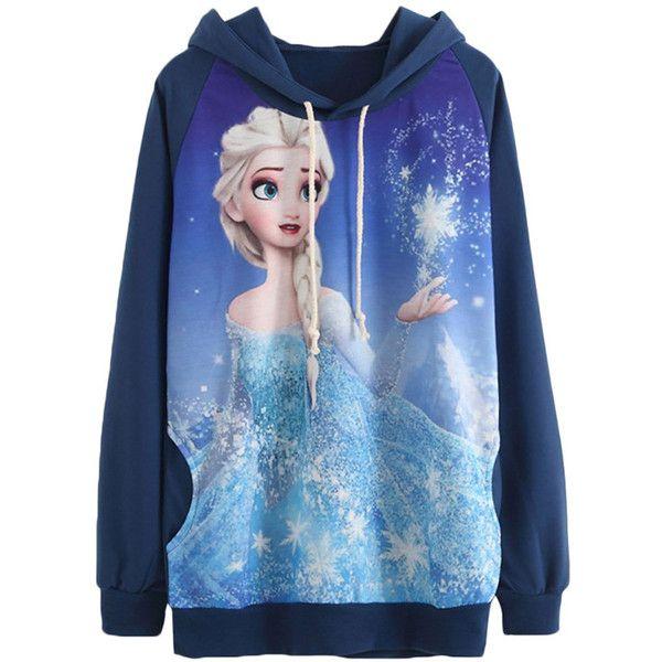 Navy Blue Fancy Frozen Elsa Printed Pullover Womens Hoodie ($28) ❤ liked on Polyvore featuring tops, hoodies, jackets, shirts, navy blue, blue hoodie, dressy shirts, navy blue shirt, navy blue pullover and pullover hoodies
