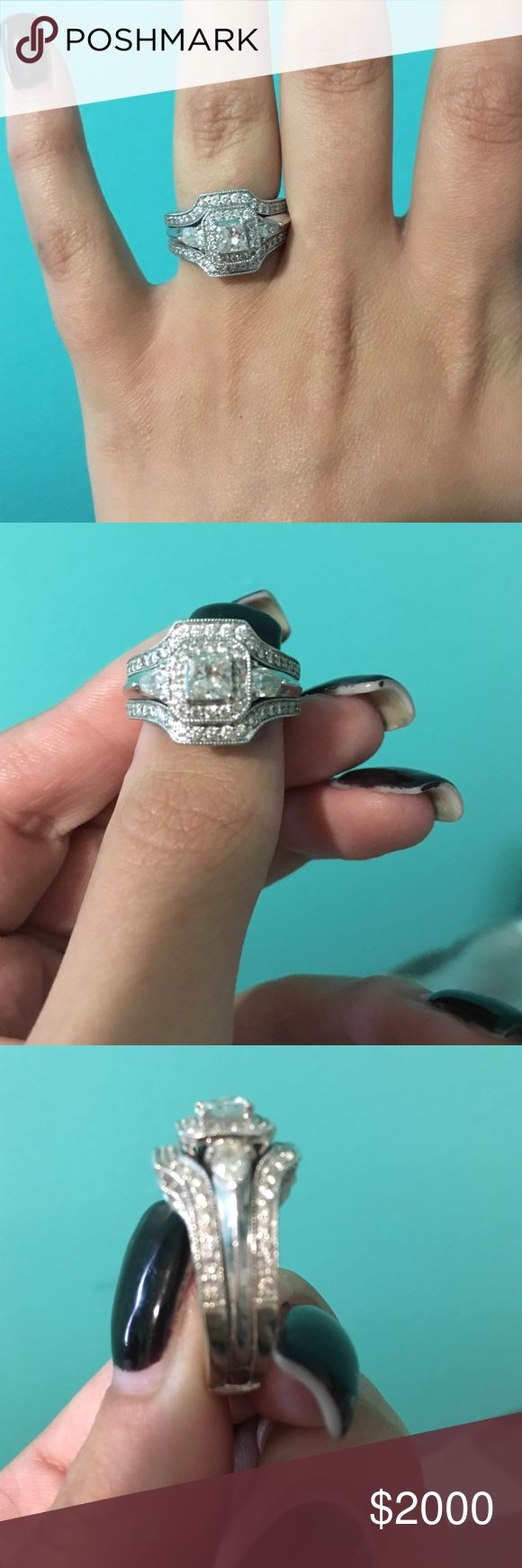 Engagement & Wedding ring set! 2Carats, inspected and insured, engagement ring and wedding band set, vintage look. 3 years old, cleaned. NO trades! Make an offer! :) Jewelry Rings