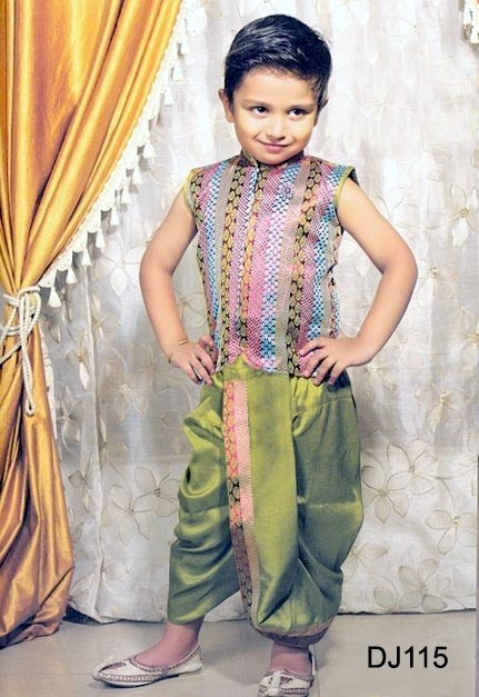 Green Multi Colored Brocade Readymade Dhoti Jacket - This Green brocade readymade front open jacket is crafted with self weaving, sequins and patch patti work. Matching pale green dupian silk dhoti comes along with this.