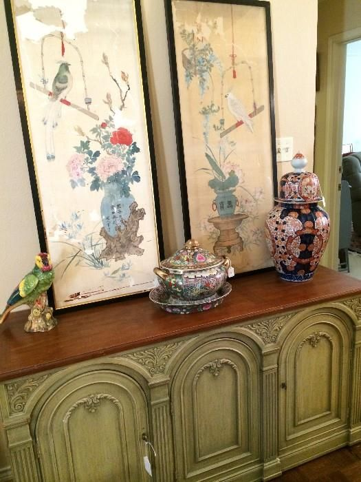 Pale green credenza; Asian framed panels; lovely tureen; temple urn  New Divide & Conquer sale starting this Thursday November, 20-22; check out the details here:  http://divideandconquerofeasttexas.com/nextsales.php  #estatesales #consignments #consignment #tyler #tylertx #tylertexas #organizing #organizers #professionalorganizer #professionalorganizers #movingsale #movingsales #moving #sale #divideandconquer #divideandconquerofeasttexas #divideandconquereasttexas #marthadunlap #martha…