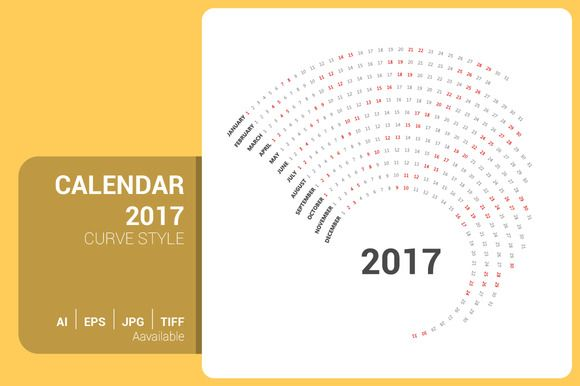 Calendar 2017 Curve Design by ctrlastudio on @creativemarket