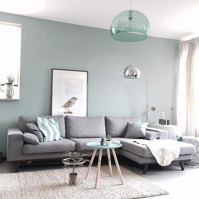 Gray with a light green somewhere between mint and sage - could be great for the living room! Also love the neutral carpet
