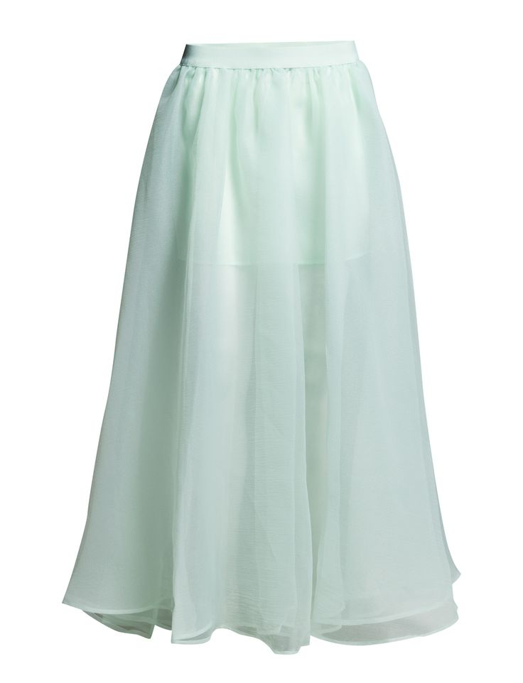 DAY - 2ND Flowy Inner lining Semi-sheer A-line design Double layered skirt Elegant Feminine Timeless Skirt Blue