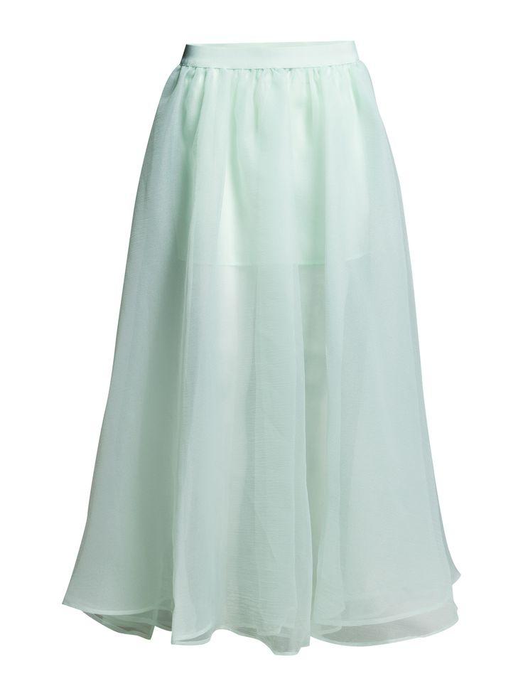 DAY - 2ND Flowy Inner lining Semi-sheer A-line design Double layered skirt Elegant Feminine Timeless Skirt Blue