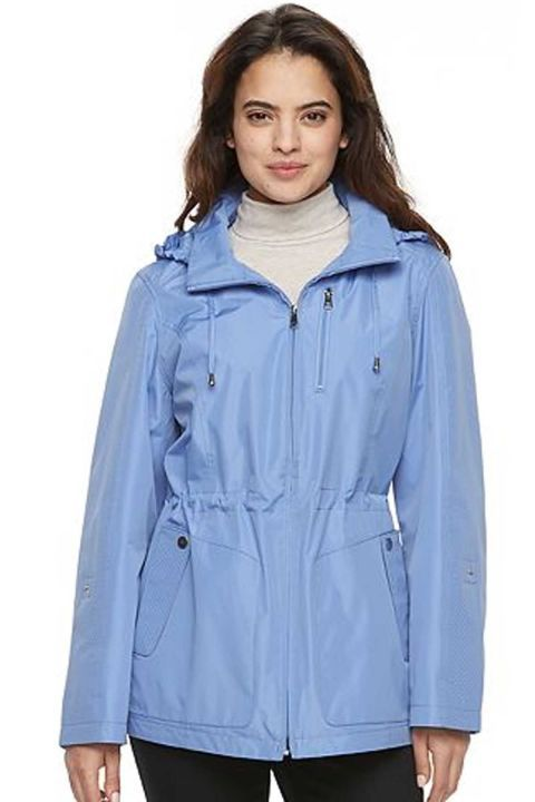 Rain Ready: Be prepared when those April showers roll in with this comfy light blue raincoat. Click through to find more lightweight jackets for women to wear this spring.