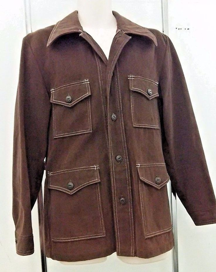 VTG Four Pocket Mod Shirt Jacket Brown Sears Men's 1970's Large Safari Camera  #Sears #Safari