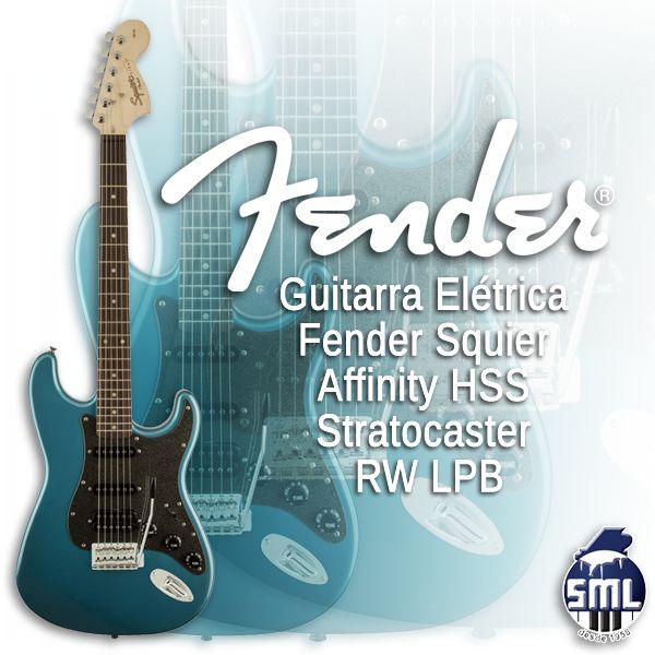 Guitarras e baixos elétricos Fender, encontra no Salão Musical de Lisboa. Venha experimentar. Veja esta guitarra aqui http://www.salaomusical.com/pt/guitarras-eletricas/2630-guitarra-eletrica-fender-squier-affinity-hss-stratocaster-rw-lpb.html