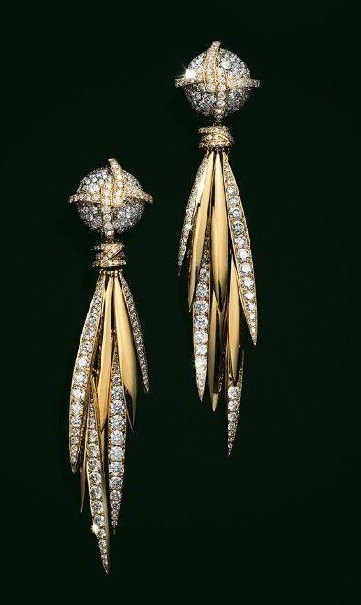 Gold diamond dangles