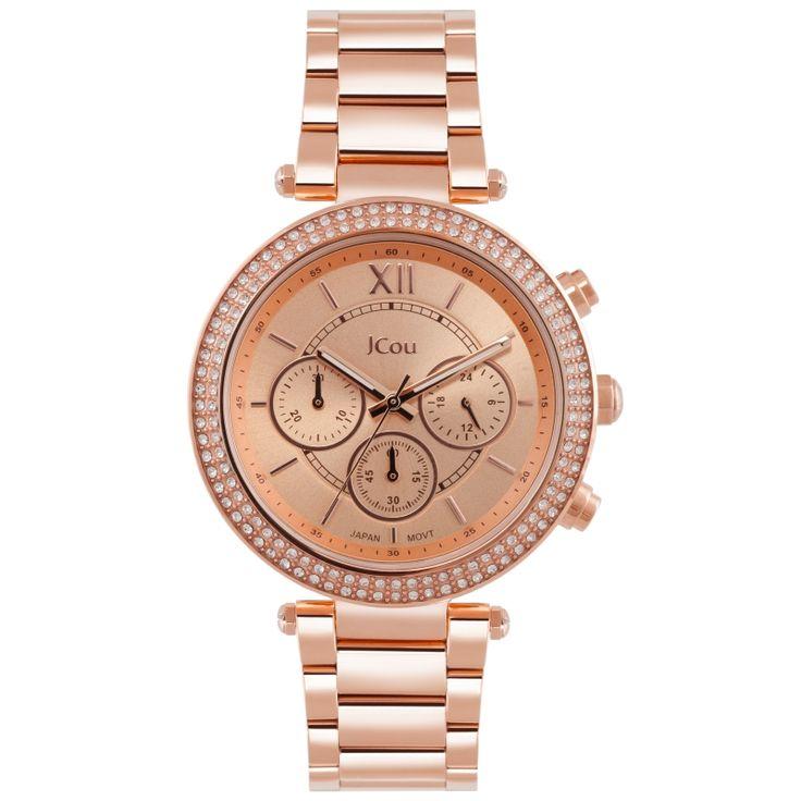 Ρολόι Jcou της σειρά Lady από ροζ επιχρυσωμένο ανοξείδωτο ατσάλι με ροζ χρυσό καντραν και ροζ χρυσούς δείκτες. #tasoulis_jewellery #watches #jcou #jcouwatches #fashion #style #women #gold #rosegold