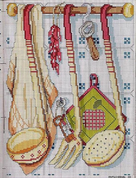 Cross stitch kitchen utensils.