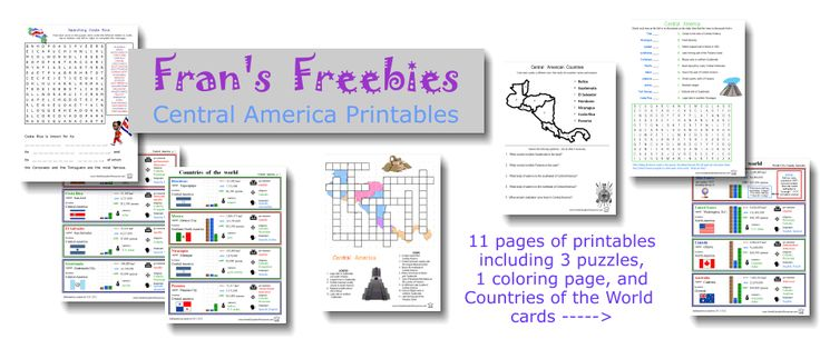 Frans Freebies:  Central America printables