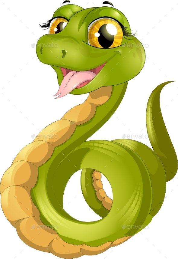 Green Snake Cute Cartoon Drawings Color Drawing Art Cartoon Clip Art