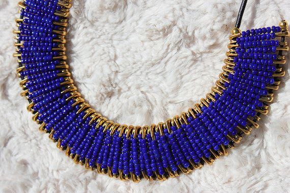 Hey, I found this really awesome Etsy listing at https://www.etsy.com/listing/171026723/royal-blue-and-gold-safety-pin-necklace